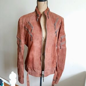 Just Cavalli Brown Suede Moto Jacket